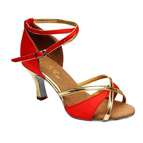 5cm Libre Zapatos Rojo Salón Estándar Mujer Informal Calzado Salsa Aire Tango Mujeres Latinos Brillos Bailarina Satén Práctica Deportes Hebilla Performance Tenthree Danza Baile nfBTF1