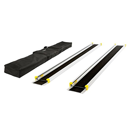 "Silver Spring – Telescoping Wheelchair Track Ramps – with Storage Bag – Adjusts 5-1/2' to 10' Long – Lightweight Aluminum Construction – 600 lb. Capacity – Non-Skid Surface – 7-1/2"" ()"