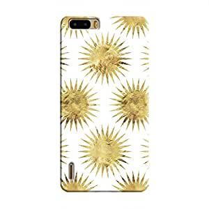 Cover It Up - Gold White Star Honor 6 Plus Hard Case