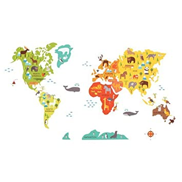 Amazon petit collage fabric wall decal world map color world petit collage fabric wall decal world map color world map model wd gumiabroncs Image collections