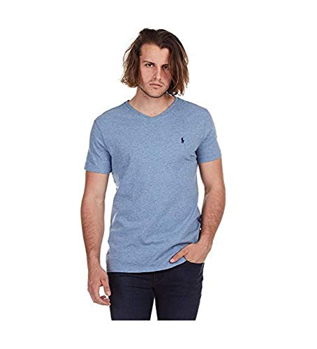 Polo Ralph Lauren Men's Classic Fit V-Neck T-Shirt Cotton (Small, Blue Ocean Heather) - Knights Classic Polo Shirt