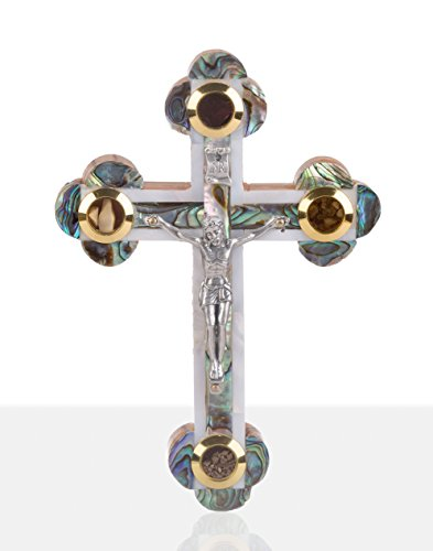 Mother of Pearl Crucifix Mixed White Shell and Abalone Green Shell