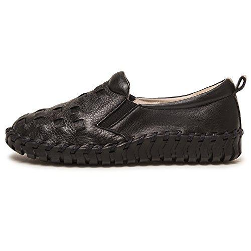 Shenn-womens Lace-up Comfort Western Moccasin Lederen Sneakers / Flats Zwart