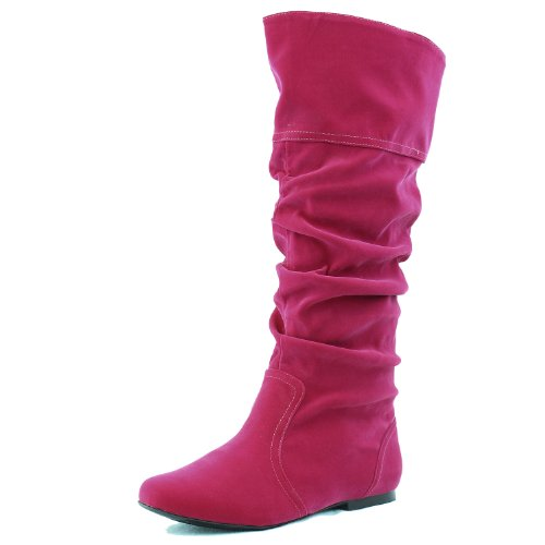 Qupid Women's Neo144 Leatherette Basic Slouchy Knee High Flat Boot