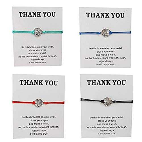 (Tiande 4 pcs Tree of Life Turtle World Map Infinity Rope Card Make a Wish Bracelet Thank You Friendship Bracelet Gift Card - Tree of Life)