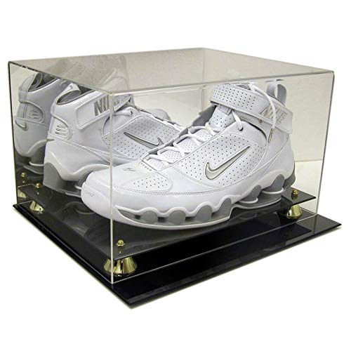 (SAFTGARD SUPPLIES Deluxe Acrylic Double Size 22 Basketball Shoe Display Case w/Mirror Back & Gold Risers )
