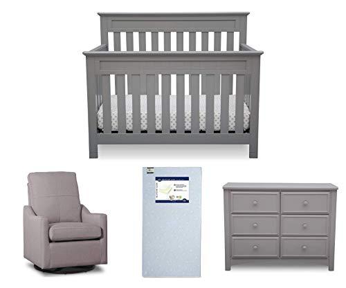 Delta Children Chalet 4-Piece Mix & Match Nursery Furniture Set (Convertible Crib, Dresser, Glider, Crib Mattress), Grey ()