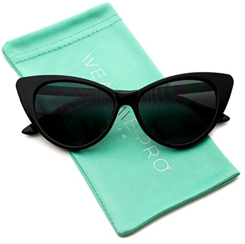 Vintage Inspired Fashion Mod Chic High Pointed Cat Eye Sunglasses for Women (Black Frame / Black - Ladies Black Sunglasses