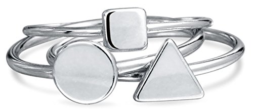 Bling Jewelry Sterling Silver Midi Ring Modern Shapes Stackable Rings Set,6 (Silver Bling Ring Stackable)