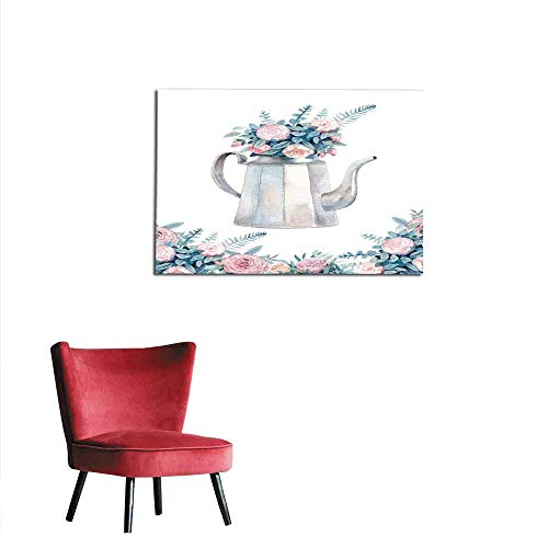 Kettle Halo (homehot Corridor/Indoor/Living Room Vintage Watercolor Kettle with a Bouquet of Roses A Cozy Tea time Greeting Card Painted with Watercolor Mural 32