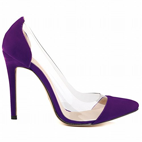 Dress Pointed 24XOmx55S99 Classic Shoes Purple Toe Fashion Pumps Women's Heel High ww0tqRB