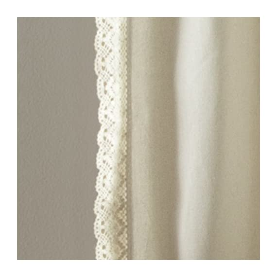 "Lush Decor Rosalie Window Curtains Farmhouse, Rustic Style Panel Set for Living, Dining Room, Bedroom (Pair), 84"" x 54"", Ivory - Lush Décor Rosalie window panel set is the ideal curtain for your shabby chic, modern or farmhouse decor. Delicate, elegant window curtain panels made of a linen fabric blend with a lace edge border. These curtains add a dreamy touch for your bedroom, living room or dining room. - living-room-soft-furnishings, living-room, draperies-curtains-shades - 418ihZ OWWL. SS570  -"