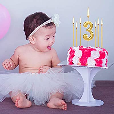 22 PCS Birthday Numeral Candles, Gold Long Thin Cake Numeral Candles Numbers 0-9 Cupcake Candles Metallic Glitter Birthday Candles in Holders for Wedding Party Cake Decorations: Kitchen & Dining