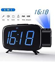 Tinzzi [Nueva Versión] Despertador Proyector, Radio Despertador con Alarmas Duales/Reloj Digital de Cabecera con Puerto USB/Regulable Pantalla LED de 6 '/ Respaldo de Batería/Snooze, 12/24 Horas