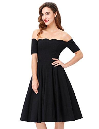 Shoulder Poque Picnic JONES Party Swing Dress PAUL Off Black Dress Belle Women's EXFwB