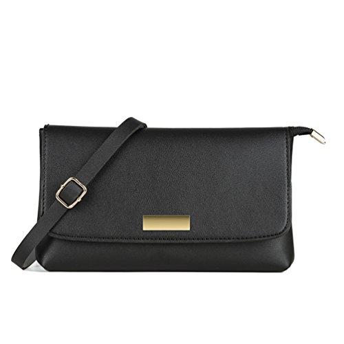 Leather Small Flap (SharPlus Women Leather Small Flap Wristlet Crossbody Purse Bag Zipper Cellphone Clutch Handbag Wallet (Black))