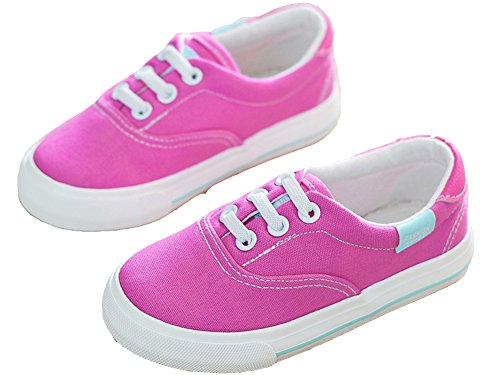 VECJUNIA Mädchen Jungen Lace up Schuhe Low Top Turnschuhe Sportlich Canvas Schuhe Textil Halbschuhe Pink