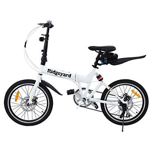 MuGuang Opvouwbare fiets 20 inch 7 versnellingen vouwmachine + led-batterij lamp + zittas + fietsbel (wit)