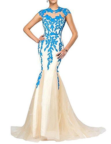 FOLOBE apliques de encaje vestido de la madre de la novia vestido de noche formal de la sirena largo Azul