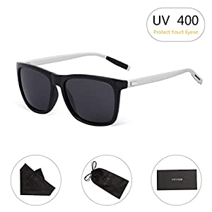 Unisex Square Polarized Sunglasses RAYSUN Aluminum Temple Retro Driving Sun Glasses