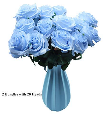 DAMOOSS Blue Rose Flower Bouquet 2 Bundles with 20 Heads,Artificial Silk Rose Flower Perfect for Birthdays, Wedding or Anniversary