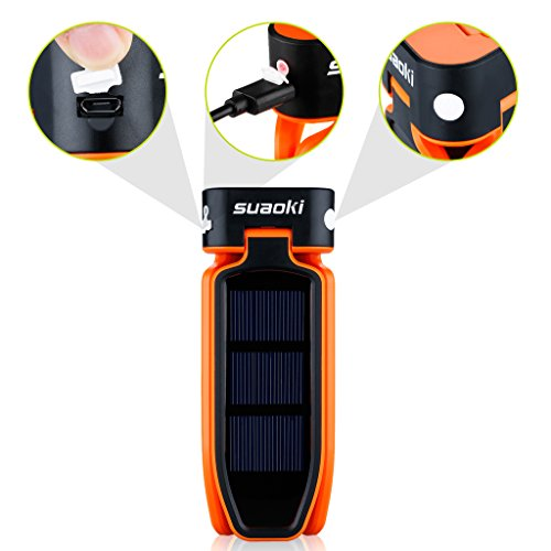 SUAOKI Collapsible Clover Style 18 Led Brightest Camping Tent Lanterns for Lighting Lights Flashlight Rechargeable Battery by USB or Solar Charging (Orange)