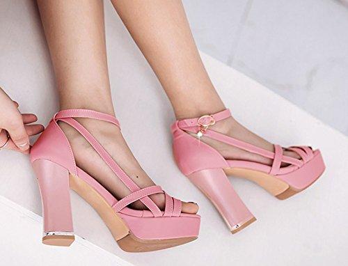 Femme Aisun Orteil Bout Mode Hauts Sandales Ouvert Rose Talons zWAqdrAw