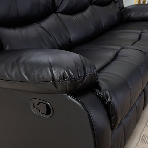 Giantex 3Pc Black Motion Sofa Loveseat Recliner Set Living Room Bonded Leather Furniture (Three Seat, Black)