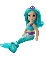 Dreamtopia-Barbie Chelsea Mermaid Doll, 6.5-inch with Teal Hair and Tail, GJJ89, Multi