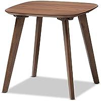 Baxton Studio Dahlia Mid-Century Modern Walnut Wood End Table, Walnut Brown