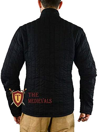 Black Medieval Thick Padded Half Length Full Sleeves Gambeson Coat Aketon Jacket Armor Cotton Fabric