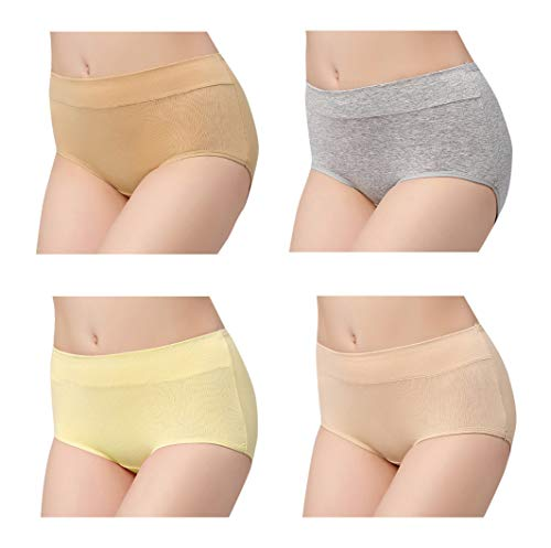 Femaroly Women's 4 Pack Underwear Comfort Covered Cotton Brief Panties Yellow-Gray-Skin-deep Skin X-Small