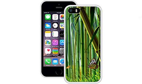 Bambus Schmetterlinge   Handgefertigt   iPhone 5 5s SE   Weiß TPU Hülle