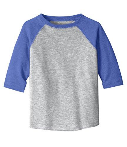 Royal Blue Raglan T-shirt Heather (KAMAL OHAVA Toddler Fine Jersey Vintage Baseball Tee, Heather/Royal, 3T)