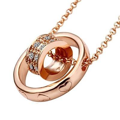Lekani Rose Gold Color Dual Ring Rhinestone Crystal Necklace
