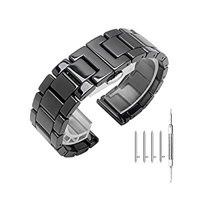 Ceramic Links Watch Band with Quick Release Pins 20mm/22mm Butterfly Buckle Deployment Clasp Press Button Strap Bracelet Smart Watch Wristband, White or Black from Kai Tian