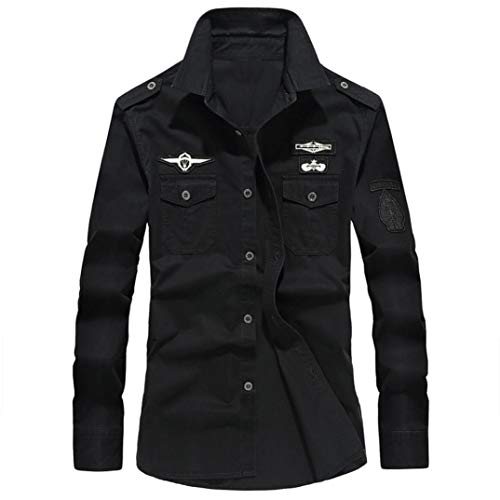 - Sunhusing Men's Lapel Cotton Casual Workwear Long Sleeve Shirt Military Cargo Slim Blouse Black
