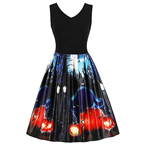 KCatsy Halloween Retro Sleeveless Fit and Flare Dress