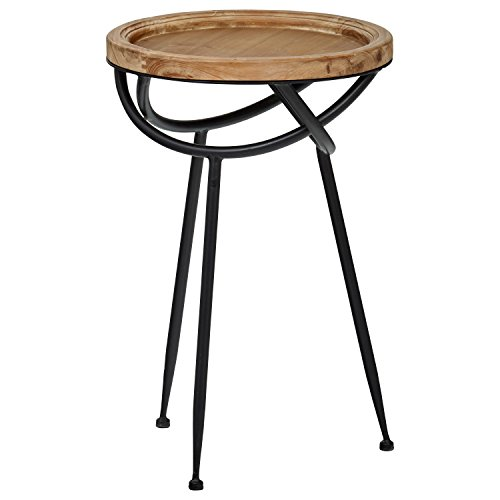 Stone & Beam Modern Rustic Wood and Metal Side End Table, 16.25