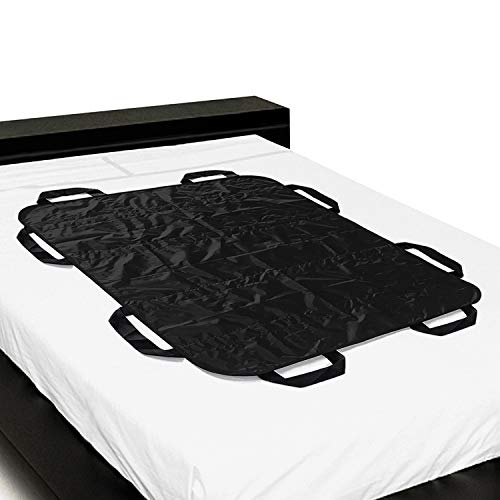ZHEEYI Positioning Bed Pad with Handles, Patient Sheet for Lifting, Transfers, Turning, and Repositioning in Beds  Reusable, Washable, Black (48 x 40)