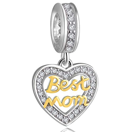 ZIYOU Best Mom Heart Bracelet Charms for Women - 925 Sterling Silver Dangle/Dangling Pendants/Beads - Fit Pandora Charm Bracelets, Necklaces, European Snake Chains - Mother's Day/Thanksgiving Gifts. (Army Mom Pandora Charms)