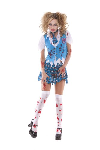 [Sexy Zombie Schoolgirl Costume, Plaid, Xl] (Zombie School Girl Adult Womens Costumes)