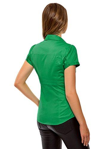 6d00n Vert en Rabattu V Col Femme Chemise oodji Ultra 0CqwBv8