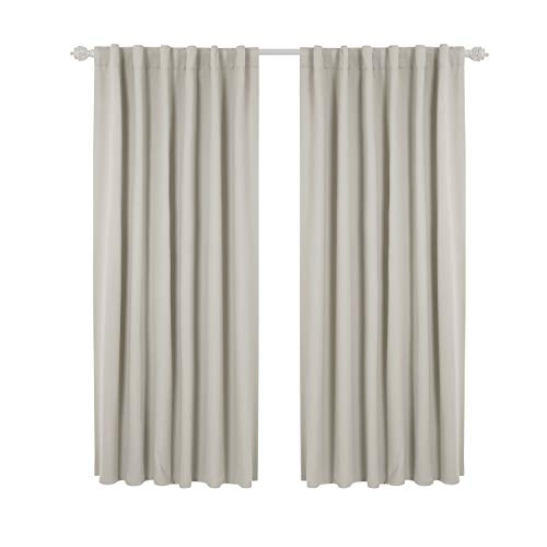 Deconovo Back Tab and Rod Pocket Solid Thermal Insulated Blackout Curtain and Drapes for Bedroom 52W x 63L Inch Set of 2 Panels Light Beige