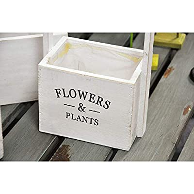 Wood Planter Box Rustic White Flower Succulent Planters for Outdoor Garden or Patio, Set of Three Product SKU: PL221628 : Garden & Outdoor