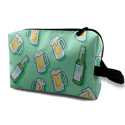 Storage Bag Travel Pouch Cosmetic Stationery Holder Mint Beer Purse Organizer Power Bank Data - Candlesticks Mint