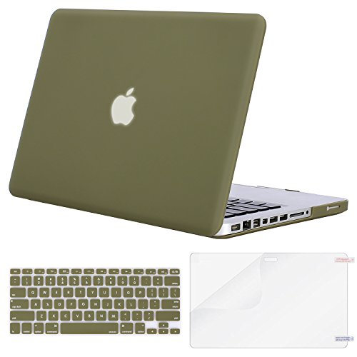 (MOSISO Plastic Hard Shell Case & Keyboard Cover & Screen Protector Only Compatible Old MacBook Pro 13 Inch (Model: A1278, with CD-ROM), Release Early 2012/2011/2010/2009/2008, Capulet Olive)