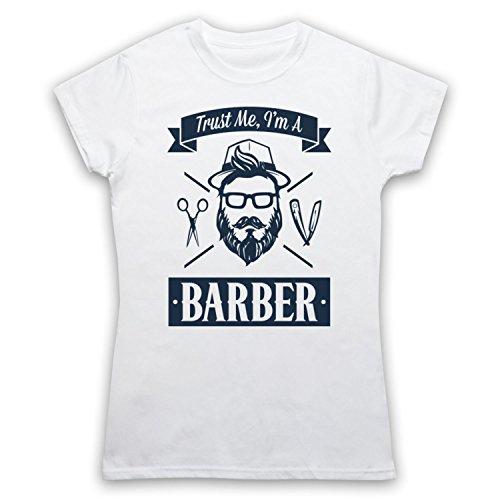 Trust Me I'm A Barber Funny Work Slogan Camiseta para Mujer Blanco