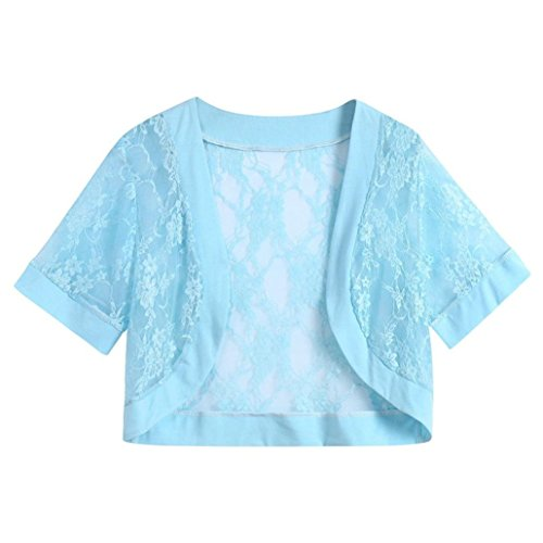 Women's Casual Solid Short Sleeve Floral Lace Shrug Open Front Bolero ()