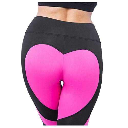 (FITTOO Women's Heart High Waist Yoga Pants Pattern Gym Workout Fitness Leggings Rose red L)